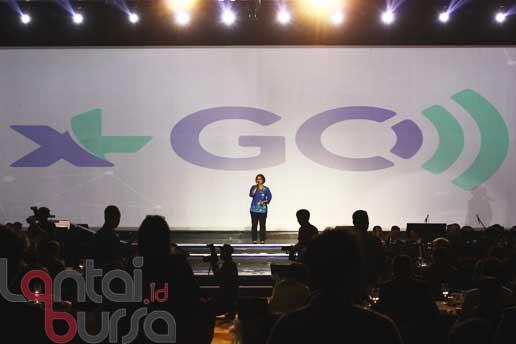 lantaibursa.id/MS Fahmi Presiden Direktur XL, Dian Siswarini saat meluncurkan layanan Mobile Boardband XL Go pada perayaan 20 Tahun XL Melayani Indonesia di Jakarta, Selasa (18/10).