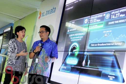 lantaibursa.id/MS Fahmi Direktur and Chief Service Management XL Yessie D Yosetya (kiri) bersama VP LTE XL Rahmadi Mulyohartono saat mendemonstrasikan kecepatan transfer data XL dengan teknologi 4T4R 4x4 MIMO dalam peluncurannya di Jakarta, Rabu (12/10). Untuk memaksimalkan kinerja 4G LTE sekaligus menjadi awal untuk penyelenggaraan 4,5G, XL mengimplementasikan teknologi 4T4R 4x4 MIMO pertama di Indonesia yang dapat meningkatkan kecepatan transfer data hingga hampir mencapai 300 Mbps.